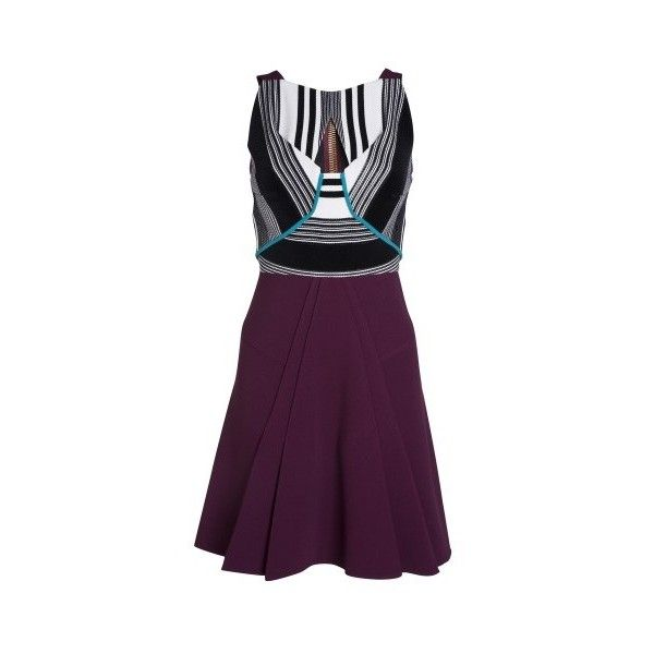 Roland Mouret Derya Dress (15,355 MXN) ❤ liked on Polyvore featuring dresses, purple, triangle cut out dress, purple dresses, pattern dress, triangle dress and day to night dresses
