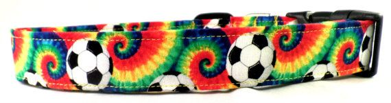 Funky Tie Dye Soccer Ball Dog Collar Futbol Red Green by Maltipaws, $13.25