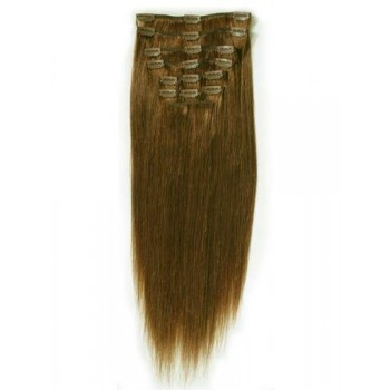 18 inches Medium Brown(#4) 7 pieces Clip In Human Hair Extension