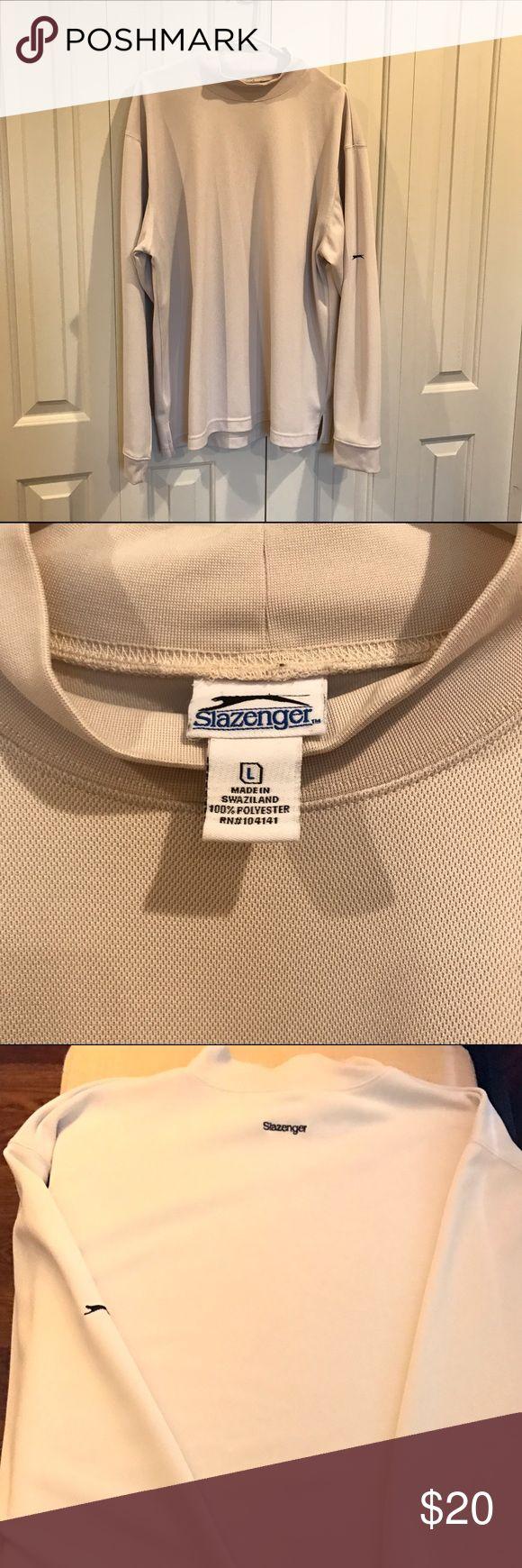 Large Men's Slazenger Beige Golf Long Sleeve Shirt Large Long Sleeve Mock Turtleneck Men's Slazenger Golf Shirt Beige. Shirts