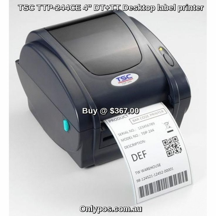 """The TTP-244CE is a new 4"""" Direct Thermal Label Printer from TSC. It has a fast 4 inch per second print speed USB interface included Bartender Ultralite Software a large media and ribbon capacity and a compact form factor. It is ideal for low to medium volume label printing http://www.onlypos.com.au/tsc-dt-tt-desktop-label-printer-ttp-244ce  #cashregister"""