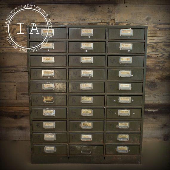 Challenger industriel Vintage acier fichier trente organisateur catalogue de cartes Style poignées de tiroir