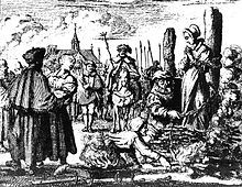 Preparing to burn a witch in 1544. Witch-hunts are an example of mass behavior fueled by moral panic.