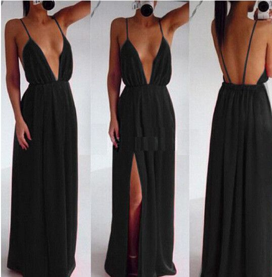 Deep V-neck Straps Split Backless Long Dress