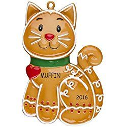 Personalized Ginger-bred Cat Christmas Ornament