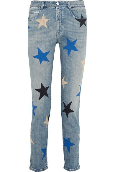 """Denim has evolved from foundation piece to the star of your look for FW16,"" says The EDIT of this season's statement jeans. Washed for a vintage feel, Stella McCartney's playfully printed version is cut in a comfortable straight-leg silhouette. Wear them to the office with an oversized shirt and pumps."