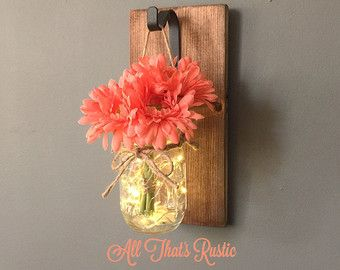 Mason Jar Sconce, Lighted Mason Jar Sconce, Wood Sconce, Wall Decor, Rustic Home Decor, Hanging Sconce, Mason Jar Decor, Mason Jar Sconce