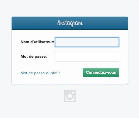 Elegant Instagram login page