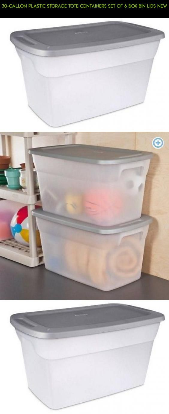 30-Gallon Plastic Storage Tote Containers Set of 6 Box Bin Lids New #gallon #products #shopping #camera #30 #plans #kit #racing #technology #tech #parts #drone #storage #gadgets #fpv