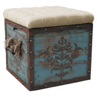 Storage Cube Ottoman Square Fabric Top Rustic Distressed Painted Teal Blue WoodThis stylish and Rustic weathered Ottoman Storage Cube has wood panels with a damask stenciled-pattern