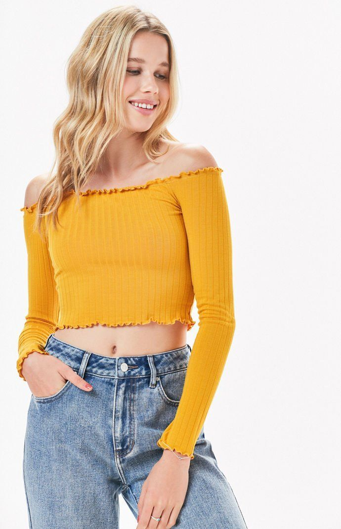 Rose Petals Off-The-Shoulder Top Cute highschool outfits to Wear now First  Day