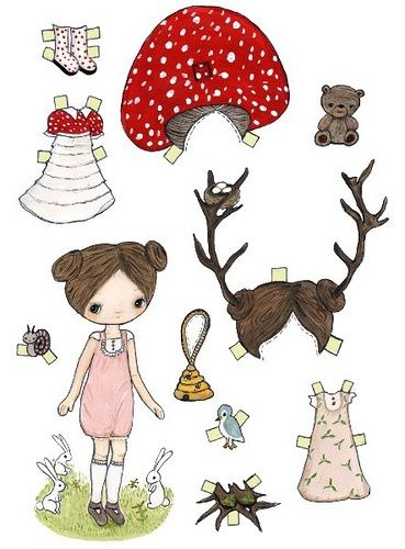 This little paper doll loves to dress up as a mushroom or a deer.  See her little hats?