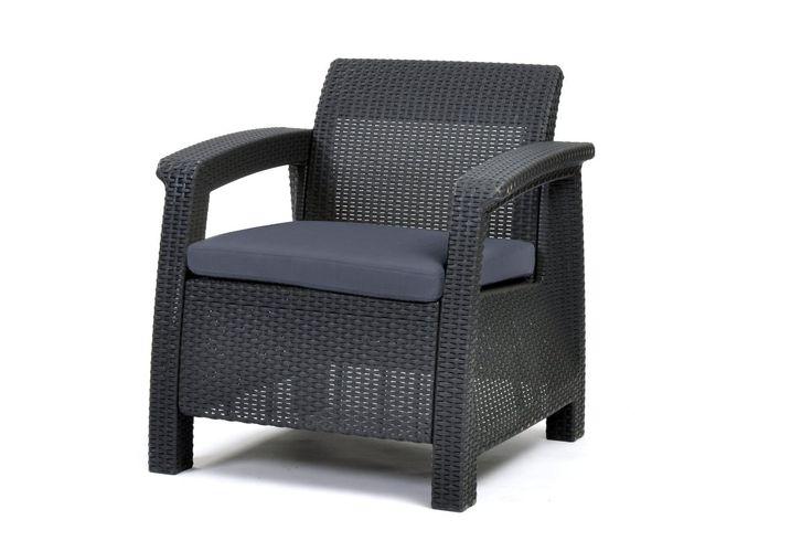 Fufniture Armchair Patio Garden Outdoor Keter Corfu Charcoal - Chairs