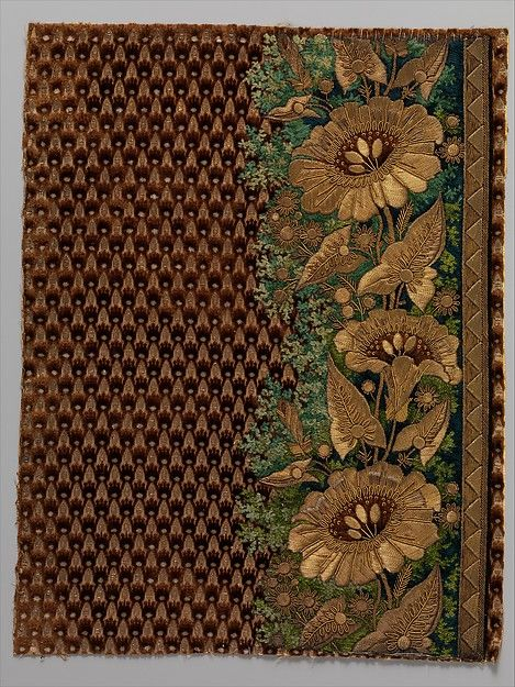 Embroidery sample for a man's suit, 1800-1815. French. Silk, metal and chenille thread on silk velvet