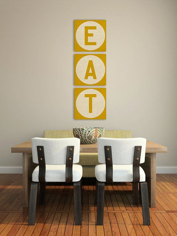 Yellow EAT sign. MADE to ORDER -  Custom  KITCHEN Decor Canvas Wall Art 8x8x1.5inch Ready to Hang