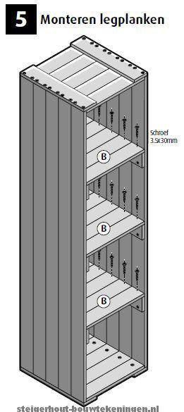 Kast op wielen, met legplanken. Doe het zelf #bouwtekening voor een #kast met legplanken van steigerhout stap 5.