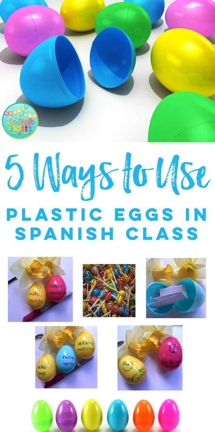 Check out these fun ideas for using plastic eggs in Spanish class! #spanishclass