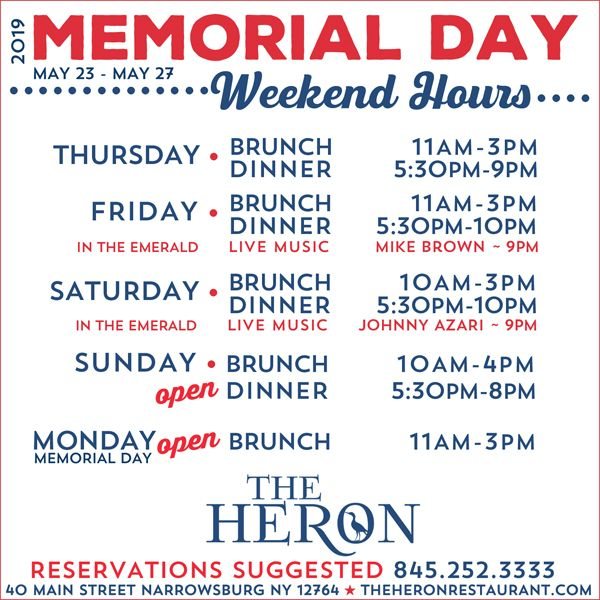 The Heron Restaurant 40 Main Street Narrowsburg Ny Friday Dinner Narrowsburg Main Street