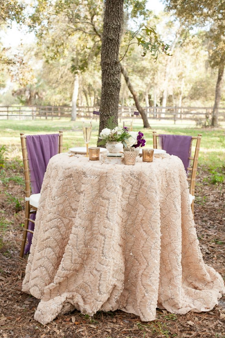 wedding linens wedding linens Rustic Chic Champagne and Purple Wedding Inspiration