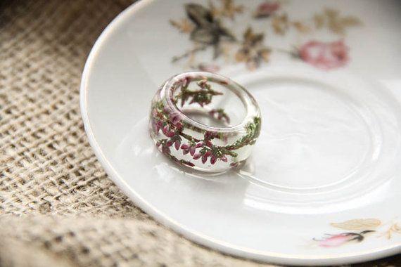 Resin Heather Flower Ring Preserved in Resin Real by kskalozubova