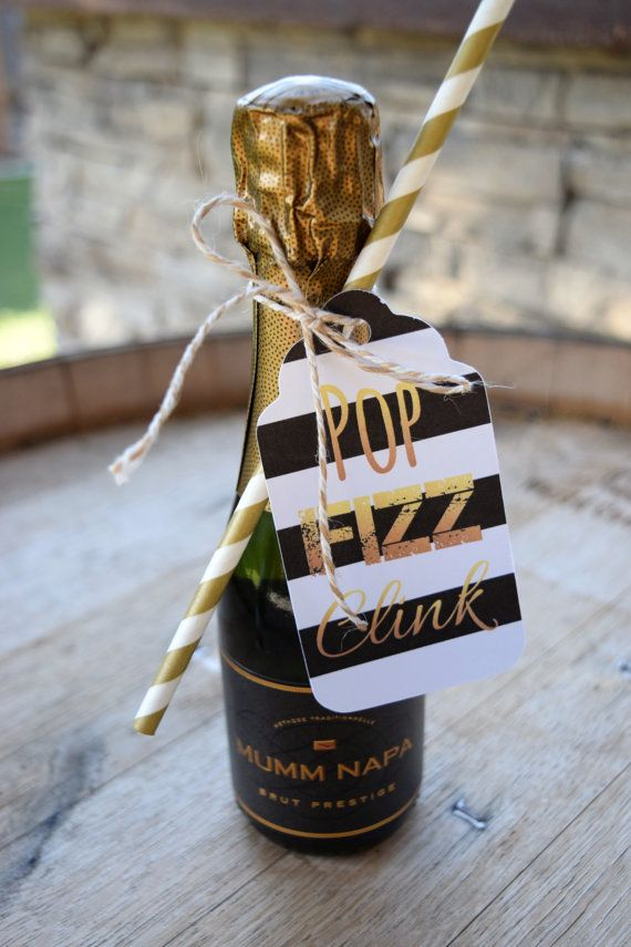 Set of 6 Champagne Tags. Pop Fizz Clink.