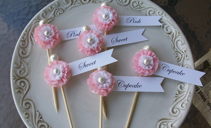 Reserved for Cheuk Kwan Sweet, Pink Cupcake Toppers.