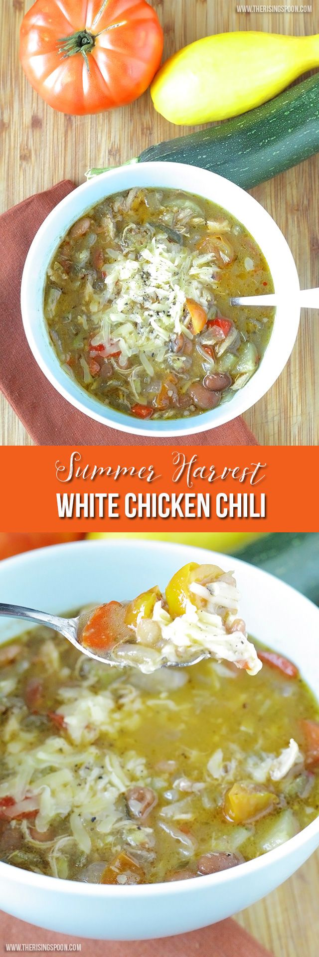 This is my GO-TO quick comfort food meal cause I can whip it together in about 30 minutes tops! It's an easy white chicken chili recipe featuring fresh or frozen summer vegetables like zucchini, okra, and tomatoes + bell peppers, onions, creamy white beans, and shredded chicken all floating in a savory broth.