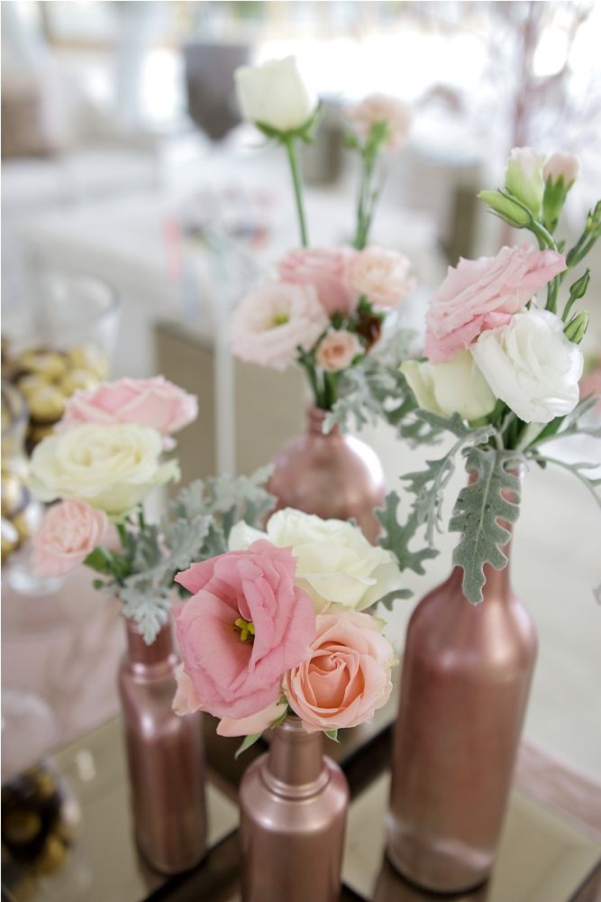 Lisianthus & Rose in White and Pink Mini Bouquets on the Registration Table by Tirtha Bridal Uluwatu Bali