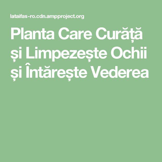 Planta Care Curăță și Limpezește Ochii și Întărește Vederea