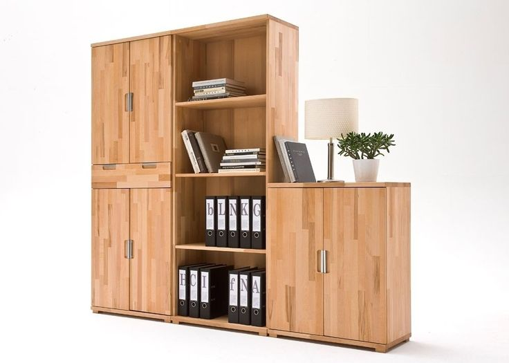 Büroschrank Lisa Aktenschrank + Regal Holz Kernbuche Massiv geölt - wohnzimmer kernbuche massiv