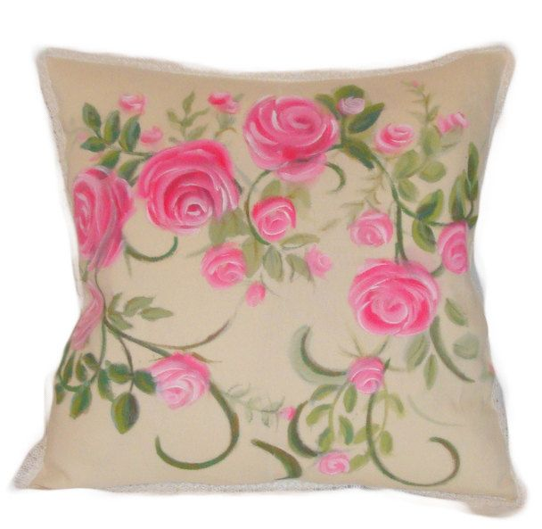 Valentine day pillow covers,shabby chic pillow,decorative pillow covers,hand painted cushion covers,pink cushion cover,cotton pillow cover by GinaArtHouse on Etsy