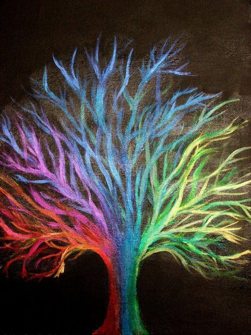 Looks like chalk art... really neat colorful tree :) | Art ...