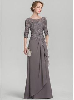 JJsHouse A-Line/Princess Scoop Neck Floor-Length Chiffon Lace Mother of the Bride Dress With Cascadi