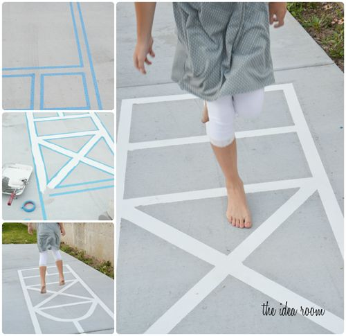 "Make your own hopscotch court & town ""roads"" with Scothblue tape or masking tape. Looks like fun via Amy Huntley (The Idea Room) #kids activities"