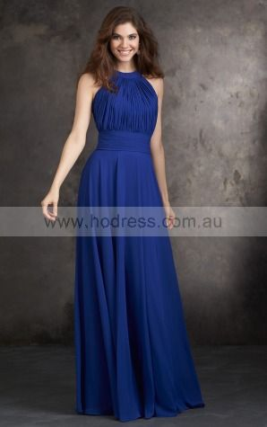 Chiffon Jewel Natural A-line Floor-length Bridesmaid Dresses 0740672--Hodress