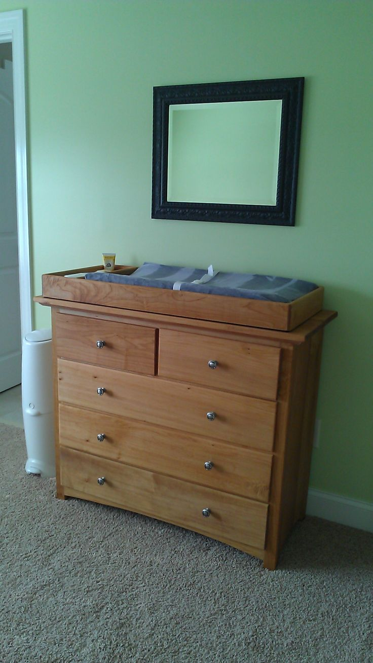 Handmade Dresser With Changing Top That Can Be Removed Later White Maple Finished Natural