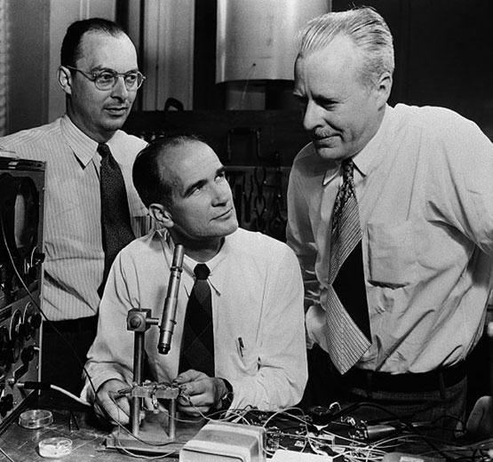 "Bell Laboratories, Murray Hill, New Jersey, 1947. William Shockley, John Bardeen, and Walter Brattain, co-inventors of the first transistor, initially fought over whose name got to appear on the patent application. This dispute led Bardeen (far left) to leave for the University of Illinois at Urbana-Champaign where the engineering quadrangle would eventually be called in his namesake. However, in 1956 when the trio was honored ""for their researches on semiconductors and their discovery of…"
