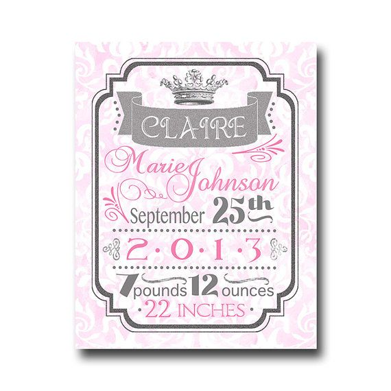 "personalized princess birth announcement art print on 11""x14"" archival paper- decor for kids rooms- baby gifts- art for baby girls"