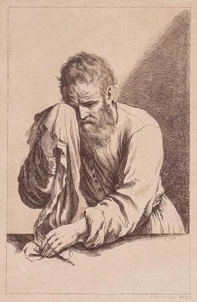 Francesco Bartolozzi RA (1727-1815) - Study of a bearded man after Guercino, etching printed in sepia