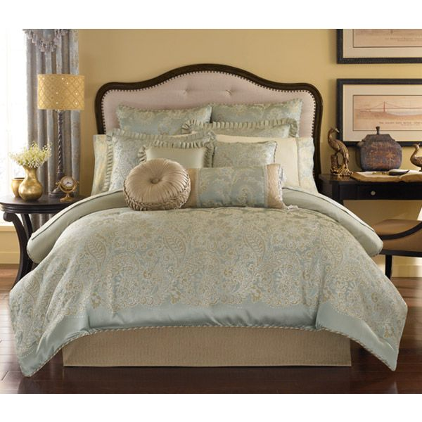 greenwich aqua blue and gold paisley bedding by croscill final sale