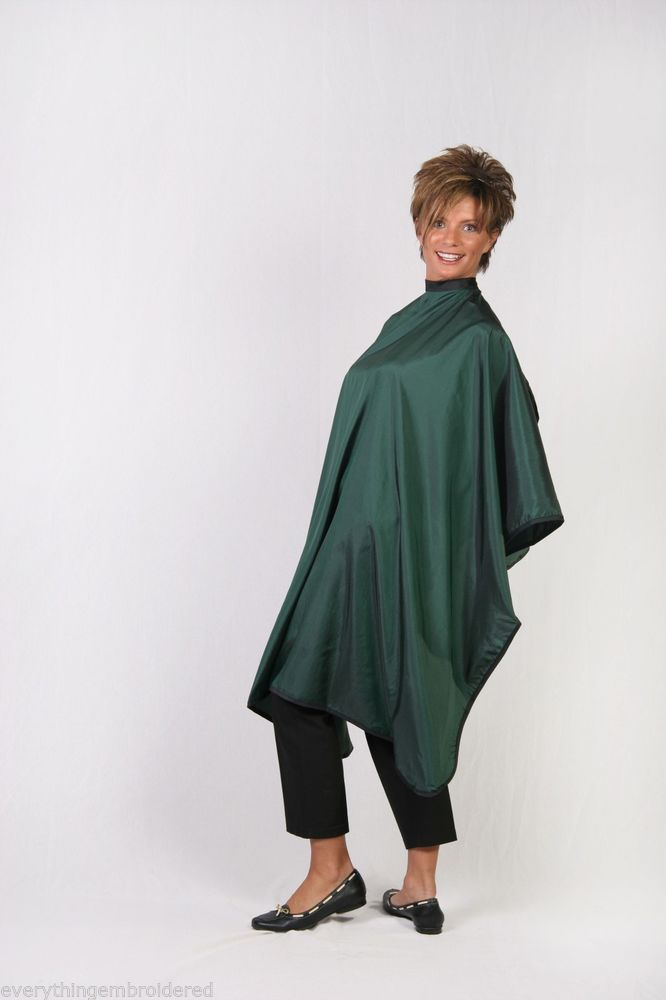 Barber Jackets And Capes : HUNTER GREEN HAIR BARBER STYLIST WATERPROOF CUTTING CAPE PERSONALIZED ...