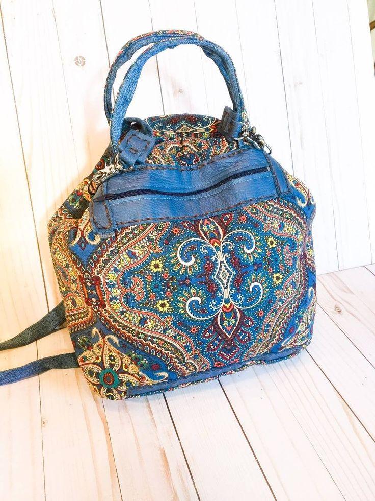 Colorful backpack, women's backpack, large purse, shoulder bag, handbag, upcycled materials, handmade hobo bag