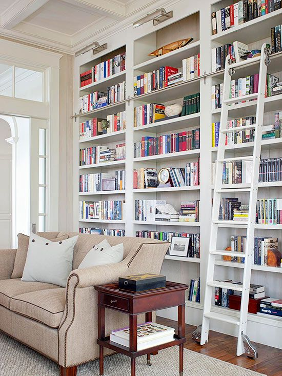 Once I had a wonderful library.  I want to have one again, but it would take decades to recreate the library I loved so much.  Better late than never, however!  This is perfect with the library ladder.  And I love white shelves because they do not show every speck of dust like dark shelves do.