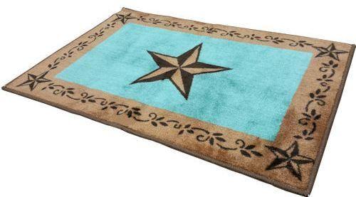 Western Turquoise Star Bath Kitchen Rug 2 X 3