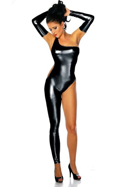 f178698ffb24 Women Sexy Leather Latex Catsuit One Shoulder Single Leg Leotard Bodysuit  Wet Look Pole Dancing Costume Exotic Clubwear