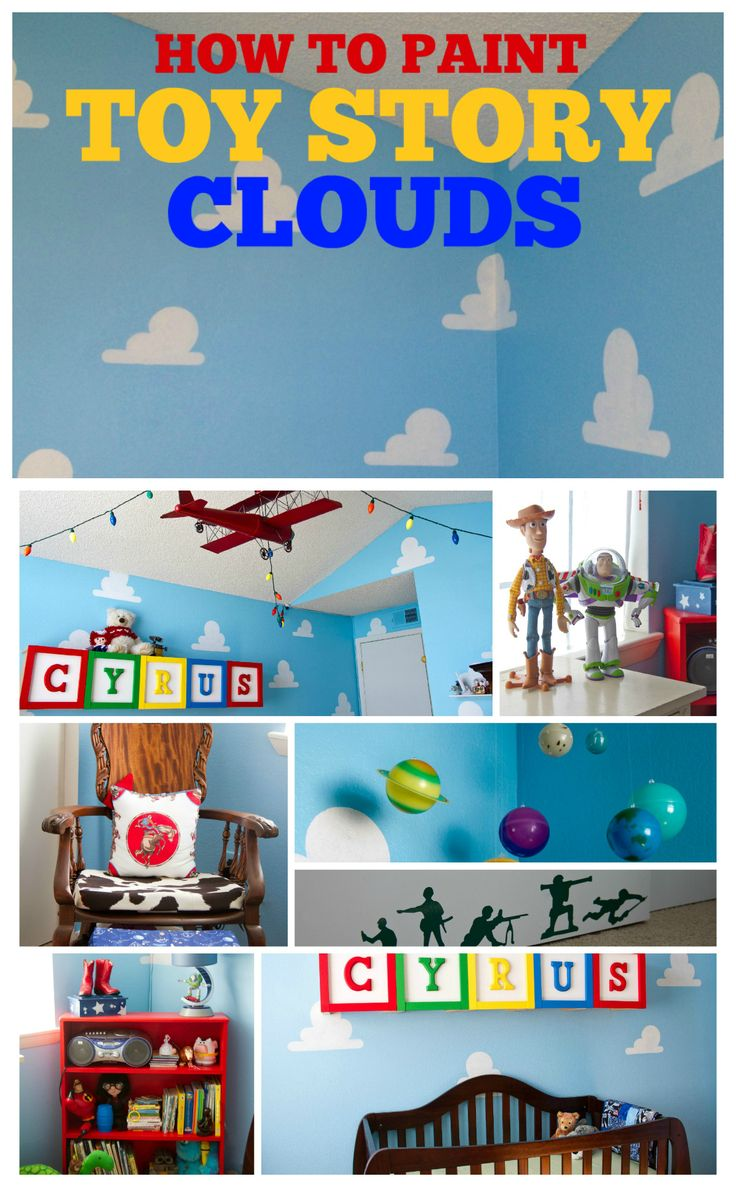 How to Paint Toy Story Clouds with a cloud stencil - by Living Lullaby Designs