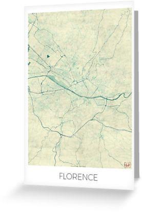 Blaue Weinlese-Aquarell. Hochwertige Karte einer großen Stadt. Florenz Italien Stadtplan Art Design https://cityartposters.com Hubert Roguski • Also buy this artwork on stationery, apparel, stickers und more.