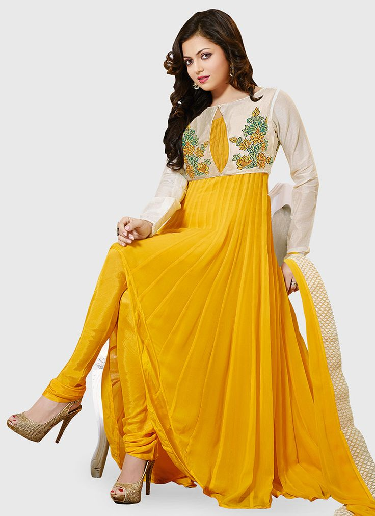 Yellow Drashti Dhami Jacket Style Kalidar Suit                                                                                                                                                      More