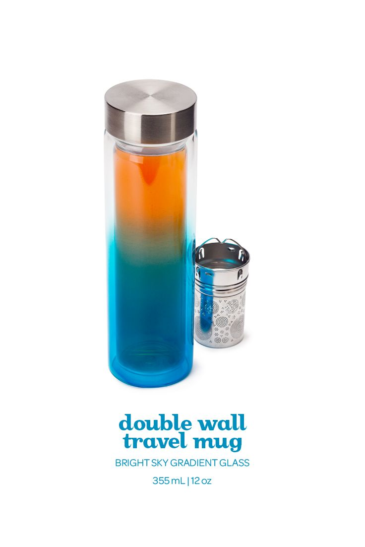 Double-wall, heat resistant borosilicate glass. Includes infuser.