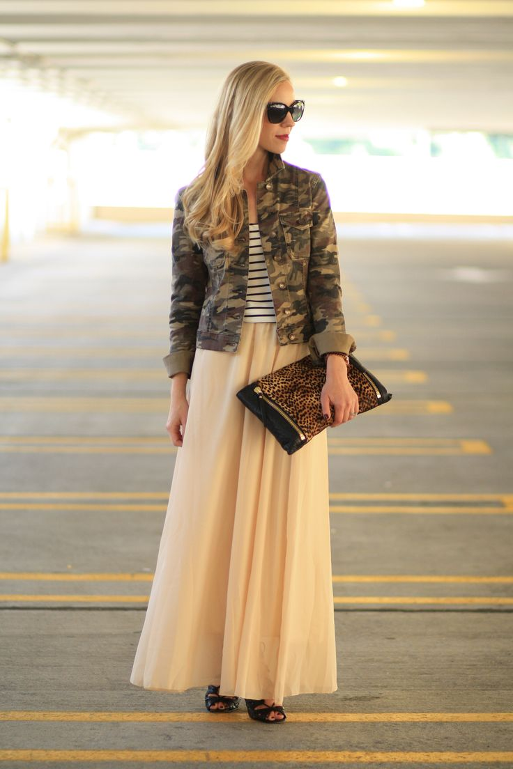 Pattern Trio: olive green camo print cropped jacket, black and white striped silk tank, flowy chiffon nude Chic Wish maxi skirt, black lace up booties, Vince Camuto leopard clutch, Chanel cateye sunglasses, stripes and camo, camo and leopard, pattern mixing: